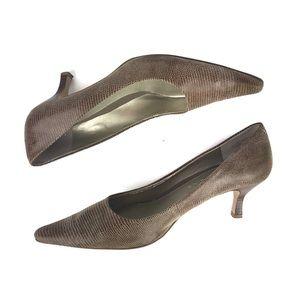 BANDOLINO Kitten Heel Pump Snakeskin Print Leather